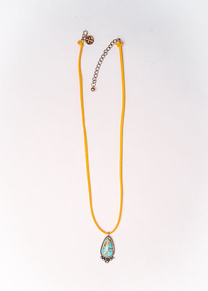Mustard Leather Necklace with Turquoise Pendant