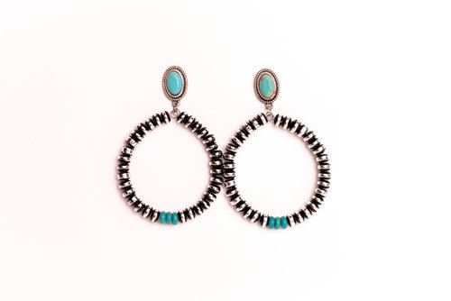 Turquoise and Burnished Silver and Black Rondell Bead Teardrop Post Style