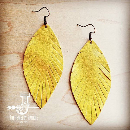 Yellow Suede Feather Earrings-Medium