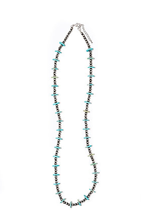 Faux Navajo Pearl Beaded Necklace with Turquoise Disc Accents