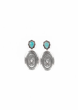Silver Concho Earring with Turquoise Teardrop Post