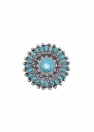 Turquoise and Silver Medalion Pin