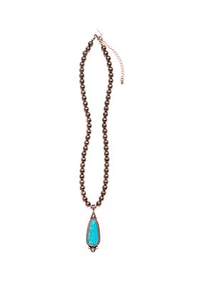 Necklace With Turquoise Navajo Pendant