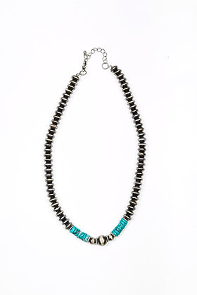 """Necklace 18"""" Faux Navajo disc with turquoise accent"""