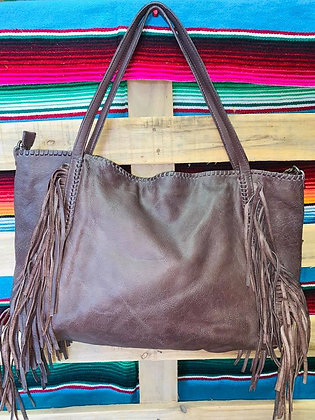 """""""Reece"""" Fringed Leather Tote"""
