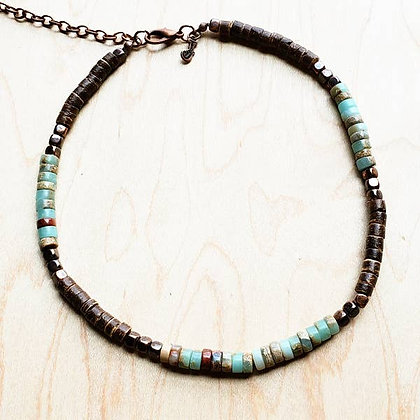 Aqua Terra Gemstone Beaded Choker Necklace