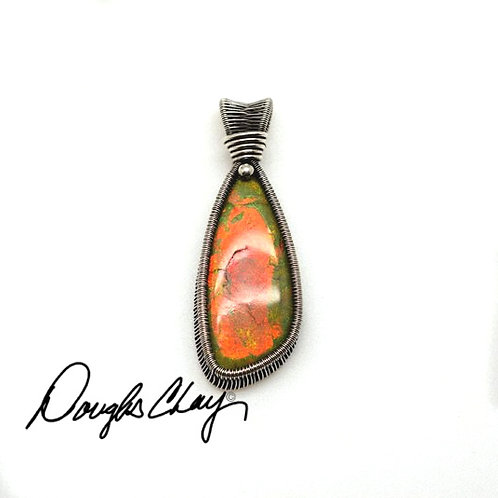 Sterling Opal Orange & Green - Lab Cultured Opal
