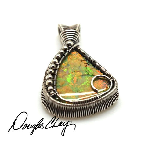 Sterling Opal Orange, Gold & Green - Lab Cultured Opal