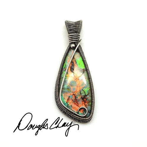 Sterling Opal Green & Gold Ora Matrix - Lab Cultured Opal
