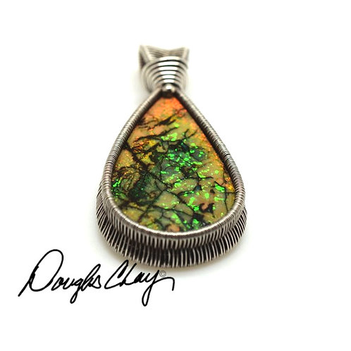 Sterling Opal Orange & Green with Black Matrix - Lab Cultured Opal