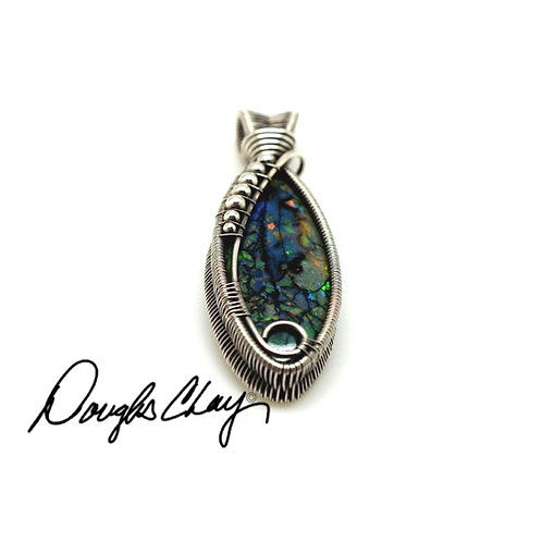 Sterling Opal Green with Black Matrix - Lab Cultured Opal