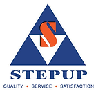 """Step Up Scaffolding logo with text that reads """" Quality Service Satisfaction"""""""