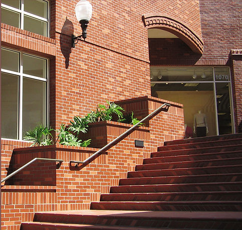 San Luis Obispo Mall red brick building and stairs