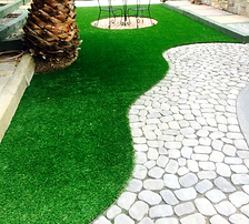 Artificial turf with paving stones