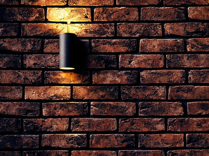 Brick wall with light fixture