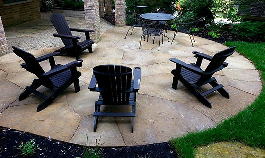 flagstone patio with chairs