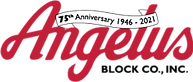 """Angelus Block Company, Inc. logo with text that reads :75th Anniversary 1946 to 2021"""""""
