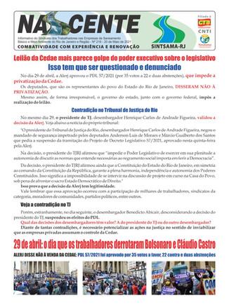Nascente 216 Leilão da Cedae mais parece golpe do poder executivo sobre o legislativo
