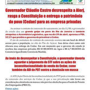 Governador desrespeita a Alerj, rasga a Constituição e entrega o patrimônio do povo (Cedae)