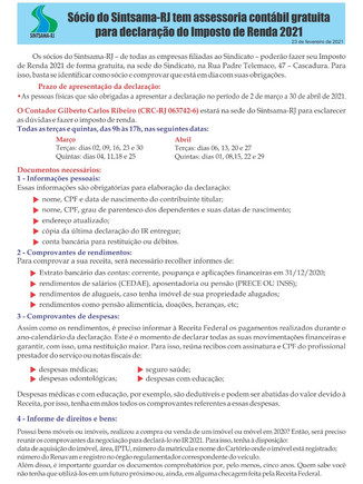 Sócio do Sintsama-RJ tem assessoria contábil gratuita para declaração do Imposto de Renda 2021