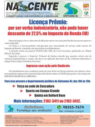 Licença Prêmio: por ser verba indenizatória, não pode ter desconto de 27,5% no Imposto de Renda (IR)