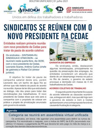 Sindicatos realizam primeira reunião com novo presidente da Cedae para tratar da pauta do acordo