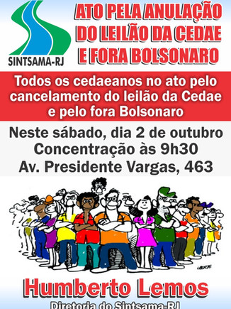 ATO PELA ANULAÇÃO DO LEILÃO DA CEDAE E FORA BOLSONARO
