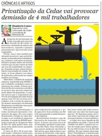 O Dia: Privatização da Cedae vai provocar demissão de 4 mil trabalhadores.