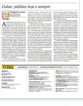 Jornal O Dia: Privatização não! Cedae pública hoje e sempre