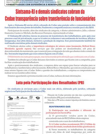 Sintsama-RJ e demais sindicatos cobram da Cedae transparência sobre transferência de funcionários