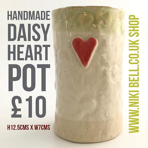 "Handmade Daisy Heart Pot 'only one"""
