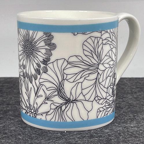 Wildflower Blue Bone China Mug