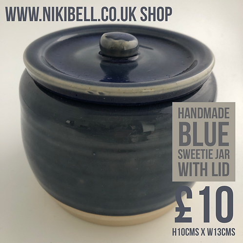 Handmade Blue Sweetie Jar with Lid