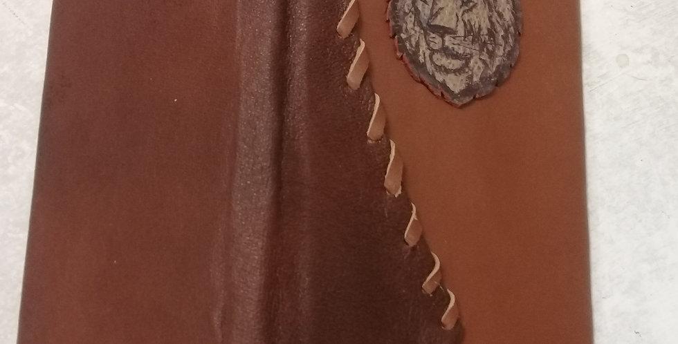 Кожаный ежедневник. Лев . Натуральная кожа. handmade