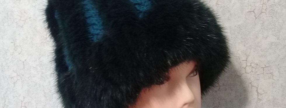 """Вязаная норковая шапка с косами""""Тёмный Изумруд"""""""