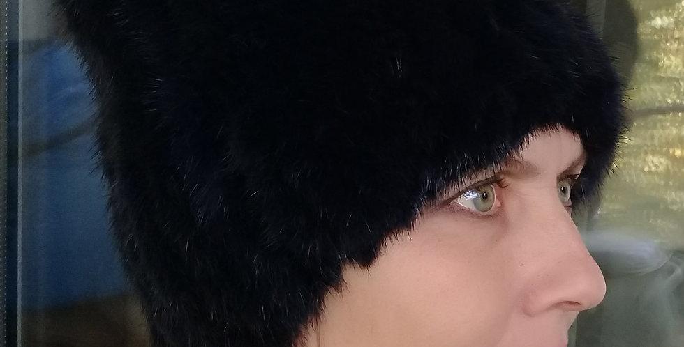Вязаная норковая шапка. Кошка.