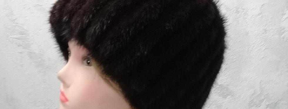 зимняя вязаная норковая шапка. Вязаный мех.
