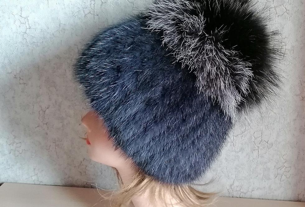 """Женская зимняя шапка """"Голубая хризантема"""""""
