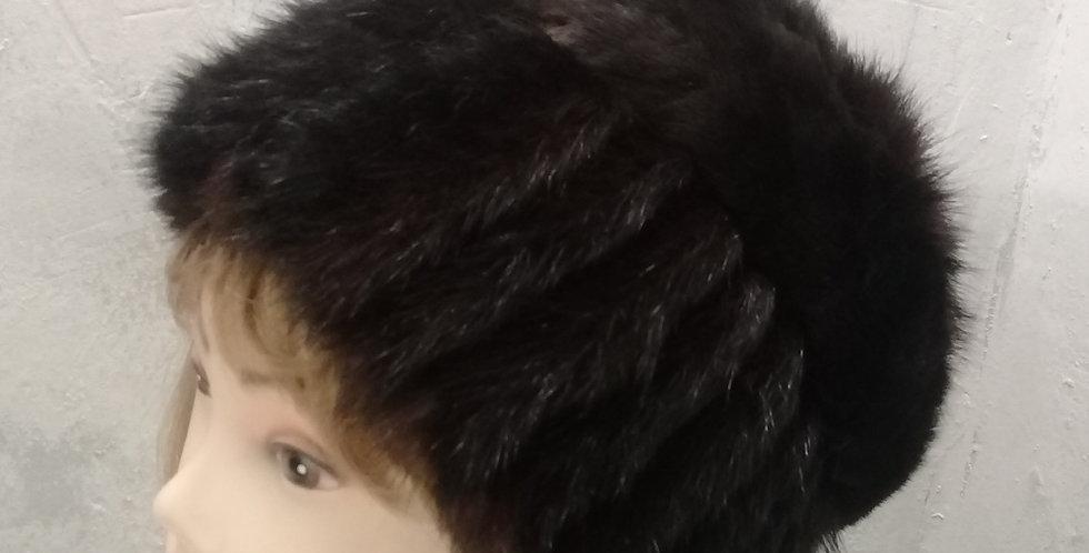 """Вязаная норковая (сурок) шапка """"Дама"""""""