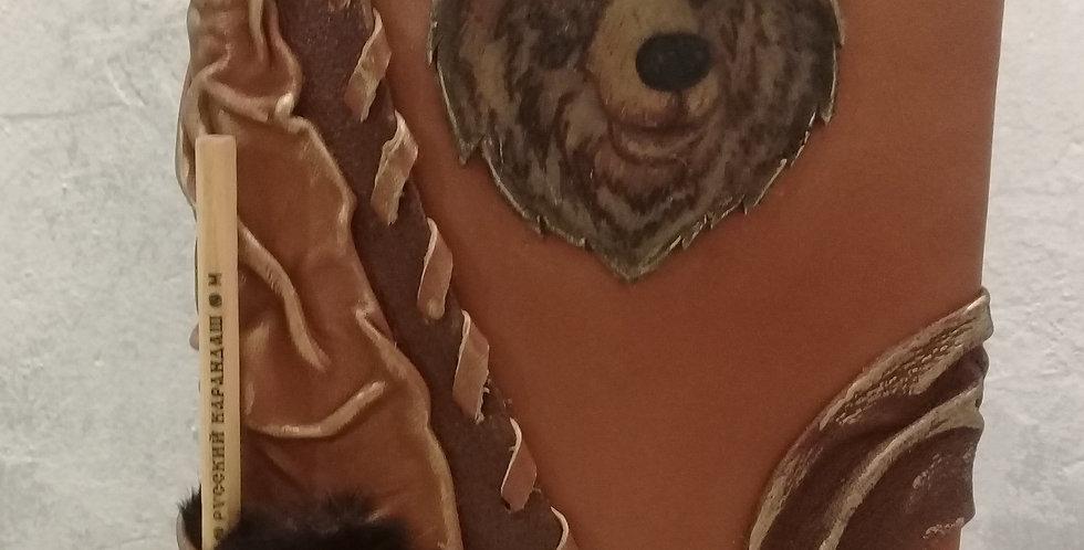 Кожаный ежедневник. Медведь. Натуральная кожа