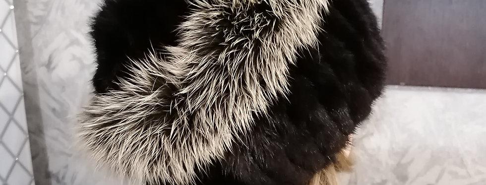 Женская зимняя шапка из натурального меха норки. Норка на вязаной основе