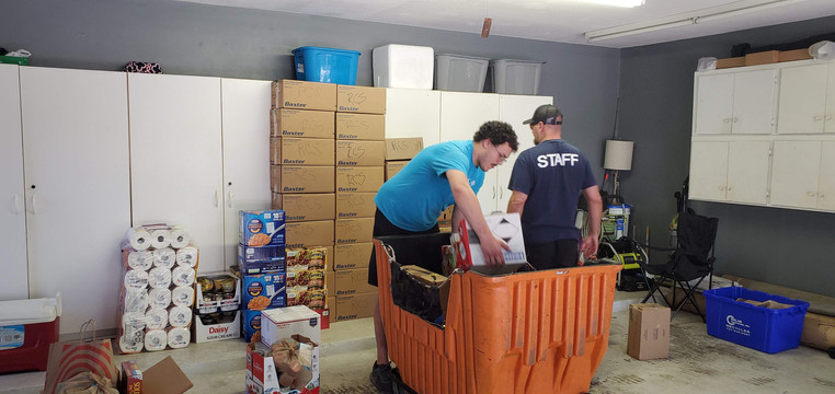 RCS staff picking up the food