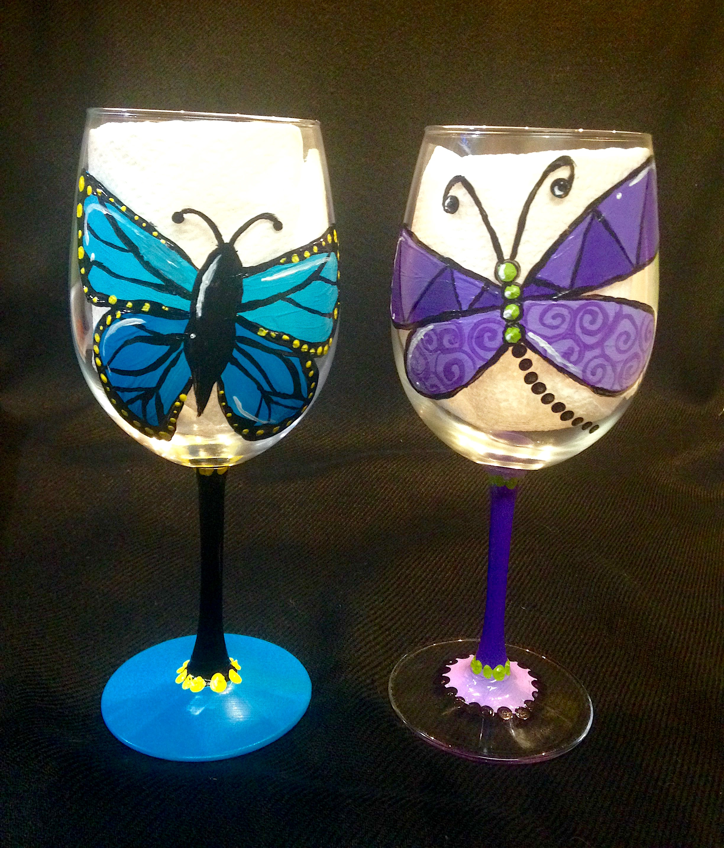 Spring Wings wine glasses