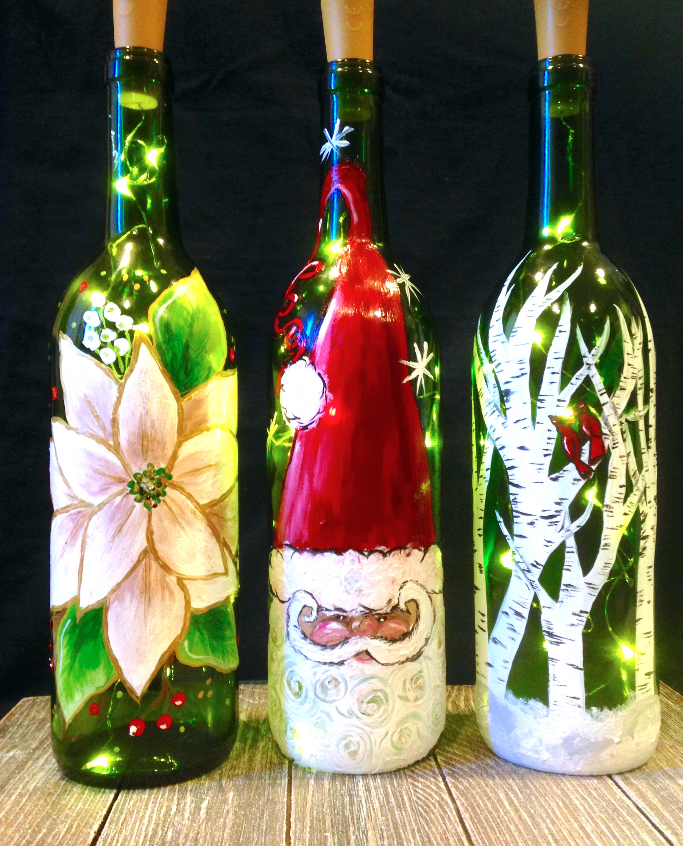 Holiday light up wine bottles