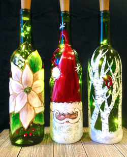 Holiday light up wine bottles