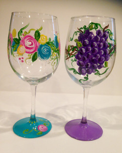 Whimsical Roses and Grape Vine wine glas