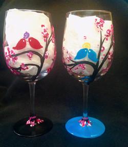 simple bird wine glass