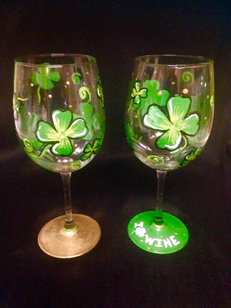 St. Patty's Wine Glass