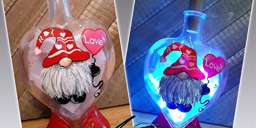 VIRTUAL Light up Heart Shaped Wine Bottle Painting Event!