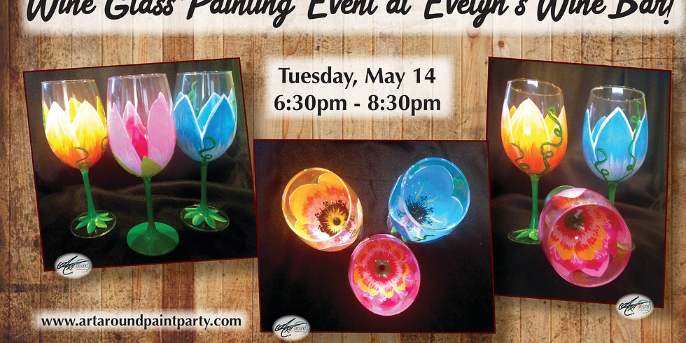 Wine Glass Painting Event at Evelyn's Wine Bar!